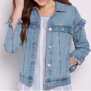 Vintage Wash Denim Jacket Raw Edges & Ruffles